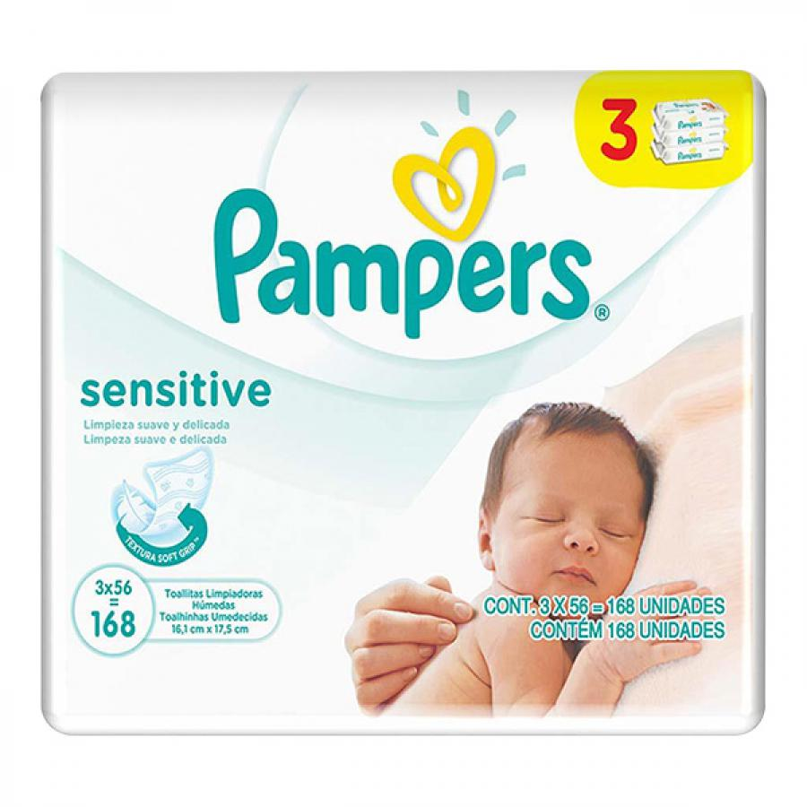 TOALHA UMED PAMPERS SENSITIVE 3X56 UNID
