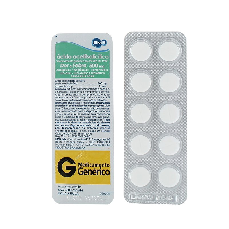 ACIDO ACETIL SALICILICO 500MG 10 CP   EMS